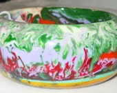 "Sobral Pollock Retired Gorgeous Swirled Heat 1 3/8"" Bangle Bracelet Direct from Brazil"
