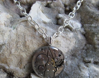 Steampunk Watch Movement Necklace Pendant A 24