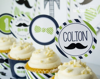 Little man birthday party cupcake toppers - cupcake wrappers - mustache birthday - PERSONALIZED - printable  - DIY // MUST-02