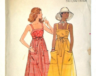 Vintage Back-Wrapped Sun Dress 1970s Retro Sewing Pattern Butterick 4867 Size 10 Bust 32 1/2