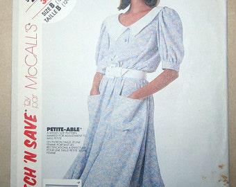 Vintage Pullover Dress and Tie Belt Sewing Pattern McCalls 3506 Size 12 14 16 Bust 34 36 38 UNCUT