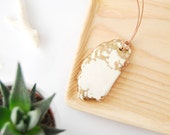 White Howlite Stone Necklace Adorned with Gold Leaf - Semiprecious - Ready to Ship