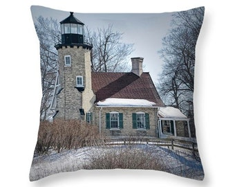 Whitehall Lighthouse on the White River by Lake Michigan Throw Pillow No.174 seascape decorative novelty pillow Home Décor cushion cover