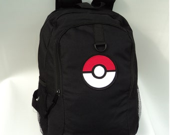 Pokeball Black Backpack with  Black Pokeball School Book Bag Pokemon