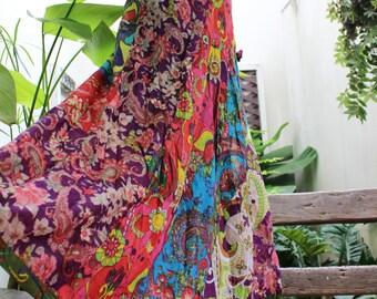 Soft Cotton Patchwork Skirt - OM1610-07