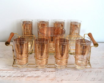 Vintage Gold Barware Set, Striped Glass Ice Bucket, Trays, Hollywood Regency Bar Cocktail Caddy