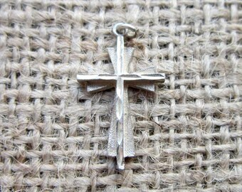 Vintage Sterling Double Cross Pendant or Charm