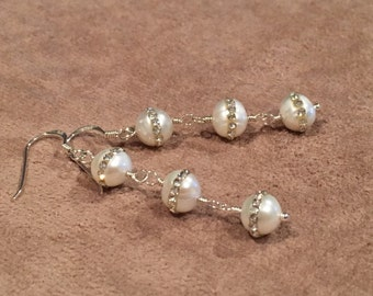 White Pearls with Crystal Band, Earrings