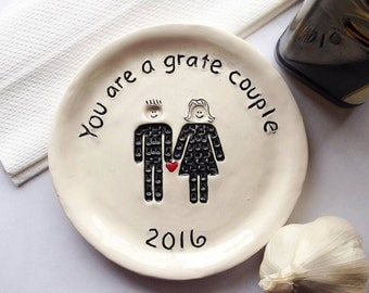 DISCOUNTED Kitchen Grater Plate - Foodie Couple - Foodie Gift - Garlic Grater Plate - Couple Gift - Garlic Plate - Gift For Couple