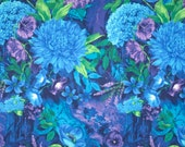 Vibrant Blue and Purple Midnight Floral Print Pure Cotton Fabric--One Yard