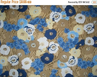 ON SALE SPECIAL--Blue and Beige Floral Print Stretch Cotton Poplin Fabric--One Yard