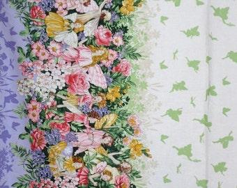 ON SALE Charming Fairy Dreamland Border Print Pure Cotton Fabric--One Yard
