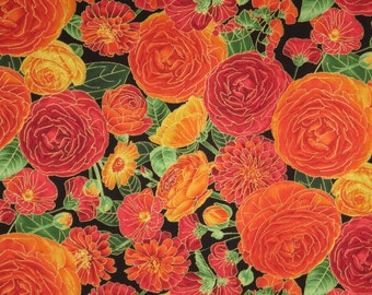 Stunning Orange Ranunculus Floral Print with Metallic Gold Pure Cotton Fabric--One Yard