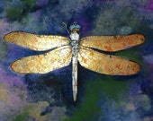 Dragonfly with gold leaf, Watercolors and gold leaf painting, Insects with wings in gold