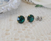 Emerald Studs, Emerald Glass Studs, Emerald Swarovski Studs, Green Stud Earrings, Crystal Stud Earrings, Emerald Bridesmaid, Glass Studs