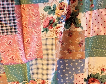 Patchwork Vintage Quilting Fabric by Sharon Kessler for Concord Fabrics (1-1/2 yards) - retro fabric, pastel colors, flowers, floral fabric