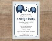 Navy Elephant Baby Shower Invitation, Printable Navy & Grey Shower Invite, Baby Boy, Chevron, INSTANT DOWNLOAD