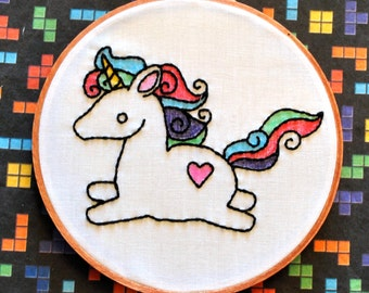 "Rainbow Unicorn -  6"" Hand Embroidery"