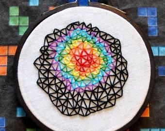 "A Study in Rainbows - Geometric Triangle Zen Stitching - Mini 3"" Hand Embroidery"