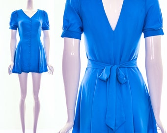 Vintage 80s Turquoise Summer Dress CUT OUT Back Bow Tie Waist Short Dress XS S