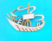 Trifari White metal ship Brooch / Vintage Asian Chinese sampan brooch / Statement white metal  brooch / Unique Trifari vintage boat brooch