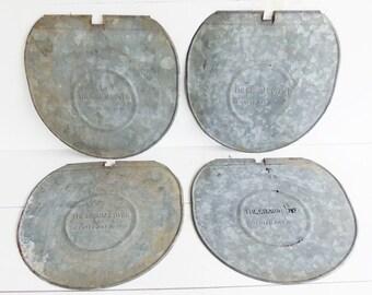 Vintage Sap Bucket Lids,  Grimm  Galvanized Metal Sap  Pail Bucket Lid