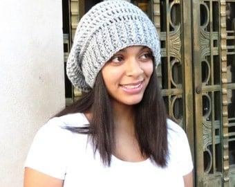 Crochet Slouchy Hat, Tam, Light Gray Hat, Ribbed, Beehive Hat, Women, Men, Teen, Tam, Color Silver Heather