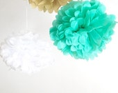 5 paper pom poms: tissue paper pom pom party decor, nursery decor choose your colours