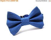 ON SALE Bow Tie Dog Collar, Dog Bowtie- Royal Blue Pin Dots