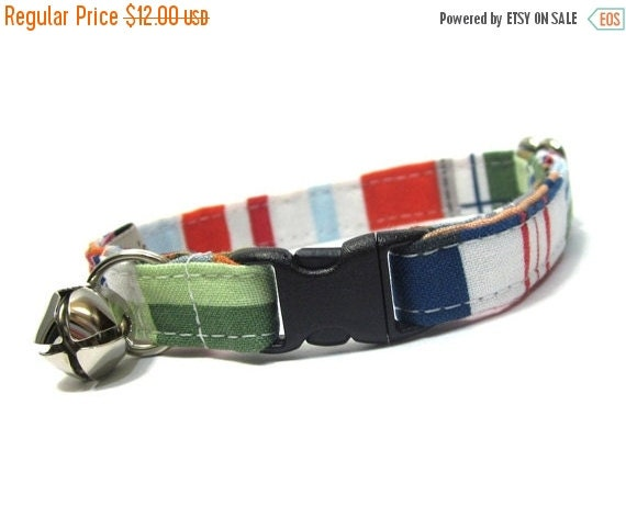 BIG Summer SALE Nautical Cat Collar...Tommy Boy