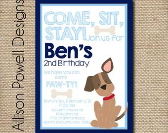 puppy dog puppy dog birthday party invitation birthday party invitation - Dog Birthday Party Invitations