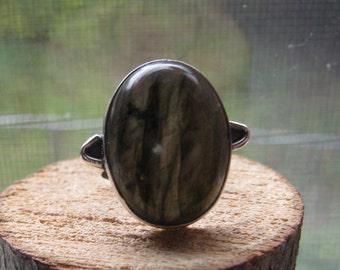 Vintage Sterling Silver Simple Elegant Labradorite Women's Ring Size 6