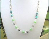 Shades of Green Crystal Silver Necklace, Her Green Necklace, Her Beaded Necklace, Her Crystal Necklace, Chain Necklace, Statement Necklace