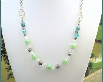 Single Strand Beaded Necklace Crystal Metal Glass Chain Mint Emerald Green Silver Sparkly Dainty Statement Jewelry Adjusts up to 24-1/2in