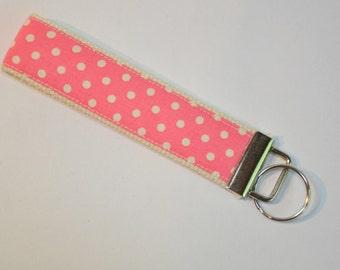 Key fob Keyfob wristlet  Key chain Bright pink and white polka dots Fabric   Great stocking stuffer Under 10