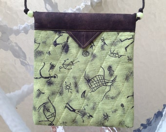 "Green and Black Print Quilted Fabric Snap Bag Purse Handbag Handmade  7-1/2"" X 8-1/2"""