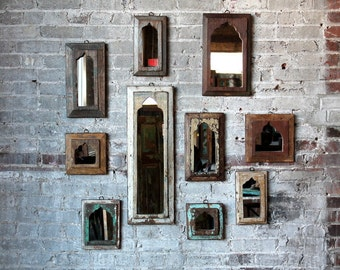 Moroccan Mirror Accent Mirror Vintage Reclaimed Wood Mirror Wall Art Turkish Interior Boho