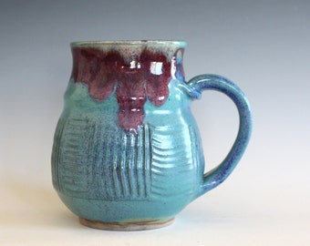 Coffee Mug, 19 oz, unique coffee mug, ceramic cup, handthrown mug, stoneware mug, wheel thrown pottery mug, ceramics and pottery