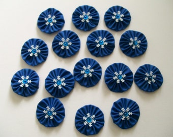 """Set of 15 Blue Yo Yos 1.5"""" Embellished with Snowflakes Sequins Beads"""
