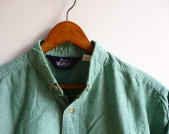 Vintage Woolrich Green Short Sleeve Shirt Mens Medium