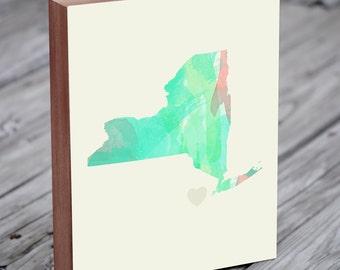 New York Print - New York Map - New York Art Print - Wood Block Wall Art Print - City Art