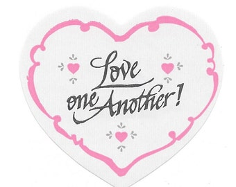 """Vintage 80's Sonrise Creations """"Love One Another"""" Heart Sticker"""