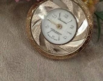 Ladies LUCERNE Windup Watch, Pocket Watch, Gold Scroll, Pendant