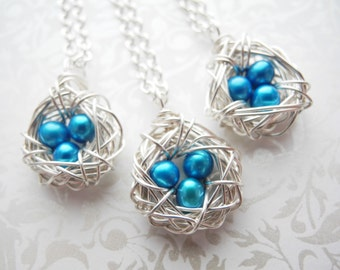 Bird Nest Jewelry, Three Eggs in a Petite Bird Nest Necklace, 4-5mm Robin's Egg Blue Cultured Freshwater Pearls