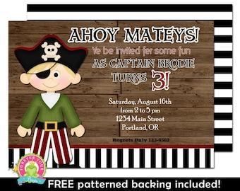 Pirate Birthday Invitation - Boys Birthday Invitation - Pirate Party Invite - Pirate Invitation - Pirate Birthday - Printable Pirate