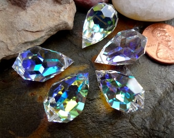 Crystal Prism, Leaded Crystal Chandelier Teardrop, Czech, 12x20mm, Crystal AB, Priced per Piece