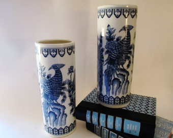 Vintage Blue and White Chinoiserie Vase by Andrea by Sadek, Oriental Style Pheasant Birds, Hollywood Regency, Palm Beach Decor