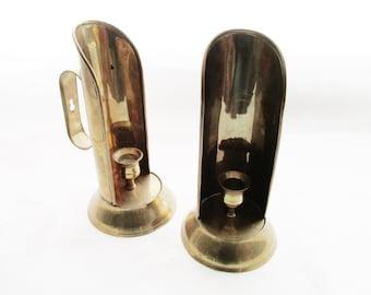 Brass Candleholders, Brass Candlestick, Brass Wall Decor, Pair of Brass Sconces, Mantel Decor