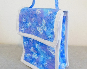 Insulated Lunch Bag - Blue with Butterflies