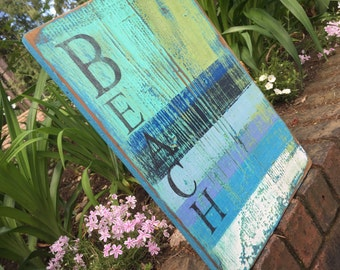 Beach House Sign Wall Art Turquoise Sea Glass Green Layered Paint Sign by CastawaysHall - Ready to Ship